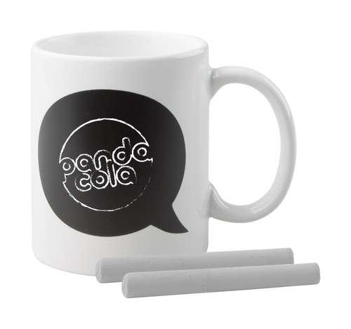 Mugs - Mug personnalisable en céramique avec une ardoise et deux craies d'une capacité de 300 ml - Comic - Pandacola