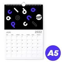 Calendrier mural 2022 mensuel à spirales personnalisable A5 de 14 pages 135 g/m² - Trib - Pandacola