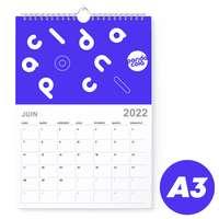 Calendrier 2022 mural mensuel à spirales publicitaire A3 de 14 pages 135 g/m² - Zeen - Pandacola