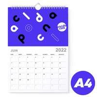 Calendrier 2022 mural mensuel à spirales promotionnel A4 de 14 pages 135 g/m² - Lean - Pandacola