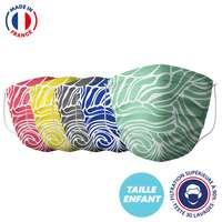 UNS1 30 lavages enfant made in France - Masque grand public à filtration garantie supérieure à 95% - Motif vague | Barral - Pandacola