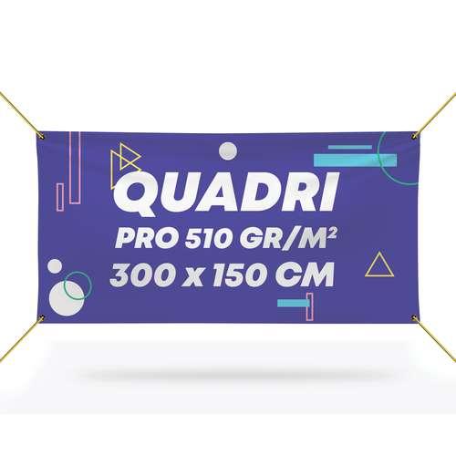 Bâches et banderoles - Bâche promotionnelle pro en PVC 510 gr/m² avec quadrichromie recto - Erbil 300x150 cm - Pandacola