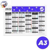 Calendrier publicitaire 2022 recto/verso format A3 - Archer Express 48H - Pandacola
