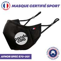 UNS1 certifié sport 50 lavages ultra respirant - Masque grand public à filtration garantie supérieure à 99% - Elastiques réglables et barrette nasale - Pandacola