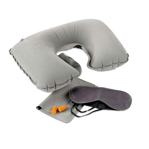 Masques de voyage - Set de voyage publicitaire avec oreiller, masque et bouchons - Travelplus - Pandacola