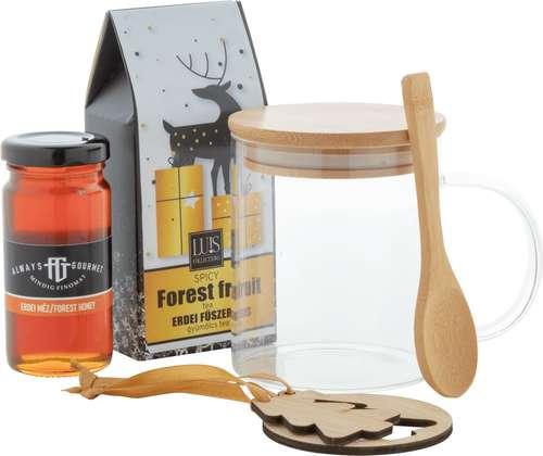 Paniers gourmands produits sucrés - Coffret cadeau noël avec tasse, thé, miel et sapin de noël - Kirkas - Pandacola
