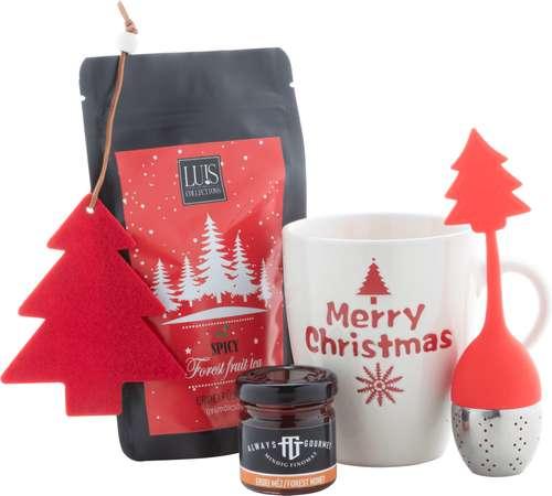 Paniers gourmands produits sucrés - Coffret cadeau noël avec accessoires de thé, miel, et sapin de noël - Julgran - Pandacola