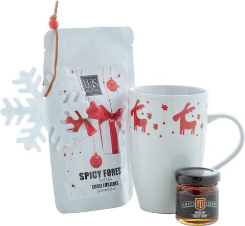 Paniers gourmands produits sucrés - Coffret cadeau noël avec tasse, thé, miel et flocon de noël - Metsa - Pandacola
